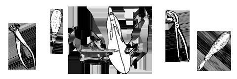 Инструменты сапожника: руки, шило, клещи, ножи